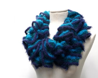 Knit Ruffle Scarf - Fuzzy Chunky Scarflette - Blue, Turquoise and Teal Green shades - Romantic, Boho Neckwarmer