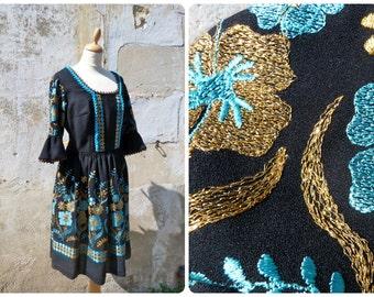 Vintage dirndl dress German black + folk embroidered flowers  gold & turquoise  size L