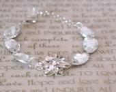 Wedding Bracelet. Silver Flower Swarovski Crystal Bracelet. Flower Bridal Bracelet.