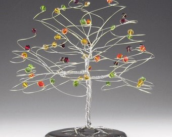 "Fall Wedding Cake Topper Tree Cake Topper  6"" x 6"" with Genuine Swarovski Crystal Elements Silver Gold Copper Yellow Red Orange Green"