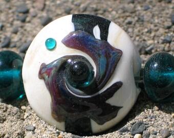 """Handmade Glass Lampwork Beads, """"Ivory/Teal"""" straight sided lentil, focal, filler, art"""