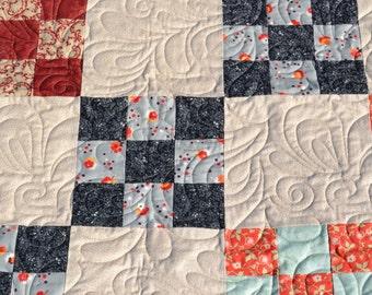 beautiful 9-patch lap quilt