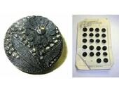 Antique Black Glass Buttons Nouveaute Card Floral Faux Cut Steel