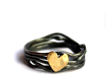 14k Gold and Sterling Silver Nest Heart Ring Handmade By Rachel Pfeffer