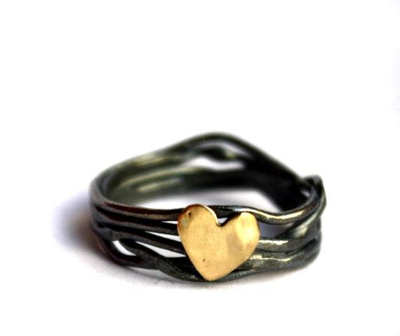 14k Gold and Sterling Silver Nest Heart Ring Handmade By Rachel Pfeffer