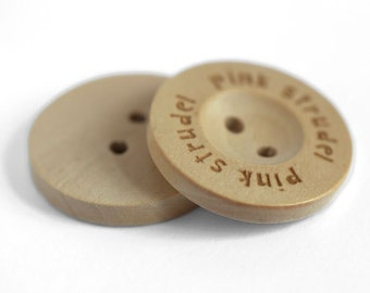 1 inch 25mm personalization custom wooden buttons 2 holes 100 pcs