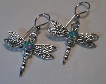 Ethiopian Opal cabochon style .. Dragonfly Earrings ... Sterling Silver   ...    e639