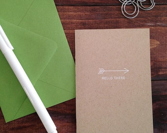 arrow HELLO THERE kraft folded notecards - set of 10