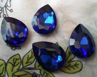 Sapphire Blue 25x18mm Pear Crystal Glass Pointed Back Gems 4 Pcs