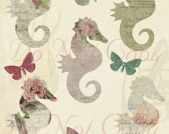 Buy 1 Get 1 FREE Vintage Seahorse Butterfly Shabby Rose Chic French Ephemera Digital Collage INSTANT Download