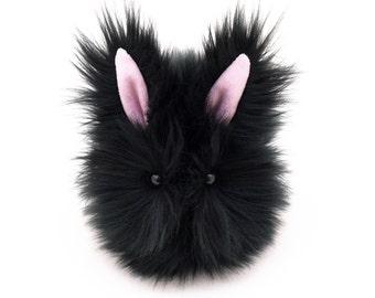 Stuffed Bunny Stuffed Animal Cute Plush Toy Bunny Kawaii Plushie Blackie the Black Bunny Fuzzy Cuddly Snuggly Faux Fur Toy Small 4x5 Inches