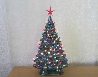 Ceramic Christmas tree - lighted Vintage Style Christmas Tree -Xtra Large 19 inch Slim Style - Christmas Centerpiece - Made to order