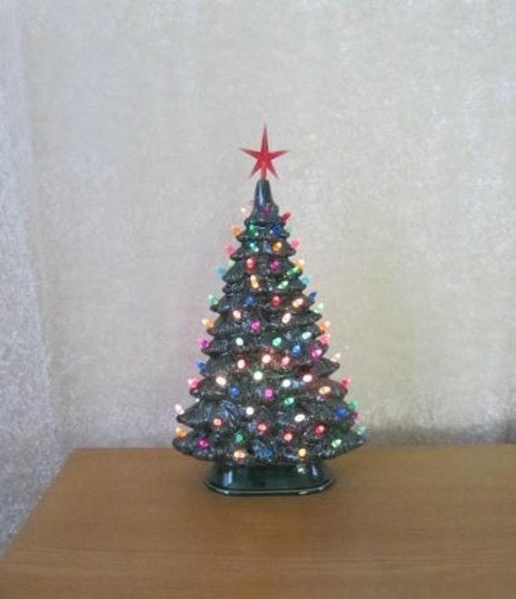 Ceramic Christmas Tree Lighted Vintage Style Christmas Tree