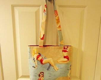 LARGE TOTE BAG Bathing Beauties Pin Up Girls Print Purse Handbag swimsuit bikini