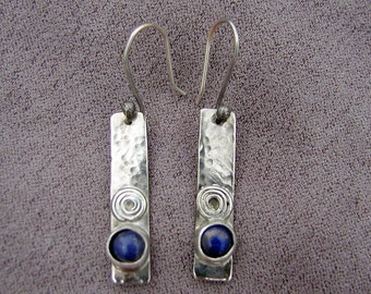 Lapis Earrings..Recycled Silver.. Earrings..Blue Lapis Cabochon Jewelry..Hand Forged Blue Lapis Earrings..Blue Lapis..Jewelry..Earrings