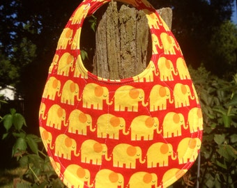 Children's bib with yellow and red elephants  cotton bib, baby bib, babies bib, bamboo bib