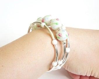 Lampwork Glass Beaded Memory Wire Bracelet, Silver Bracelet, Handmade Jewelry