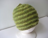 knitted cap green wool hat green hand knit hat with mohair