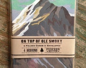 On Top of OLE SMOKY pack of 8 MOUNTAIN Greeting Cards recycled paper & envelopes mountains with snow pine tree note cards paint by numbers