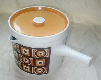 Modern Siena Ware Spouted Pot -  Oven Proof Porcelain - 6 Cup - Imperial International -  Vintage 70s - Japan MOD White Brown and Ocher