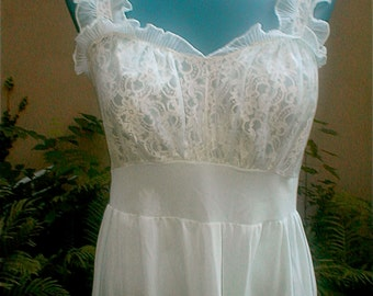Pale Blue Nightgown - Ruffled Straps Long Dressing Gown -  Bodice Lace  - Dinah Shore Nylon Trico Lingerie -  Vintage 60s Sleepwear Size 34