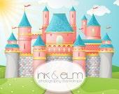 "Princess Castle Backdrop 6ft x 6ft, Vinyl Photography Backdrop, Birthday Party Princess Theme Fairytale Castle Backdrop ""Happily Ever After"""
