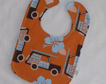 Orange Little Surfer Boy Boutique Bib