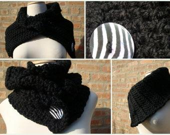 Black Crochet Scarf / Cowl / Neckwarmer - MultiScarf - Zebra buttons