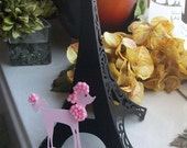 3D Eiffel Tower Table Centerpiece - Cake Topper - Black on Black with Pink Poodle Accent - Decoration - Shower - Birthday FULLY ASSEMBLED