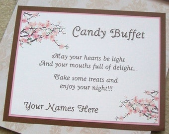 Candy Buffet - Sweets Table - Instructions Sign - Customize For Your Event - Three Layers - Cherry Blossoms