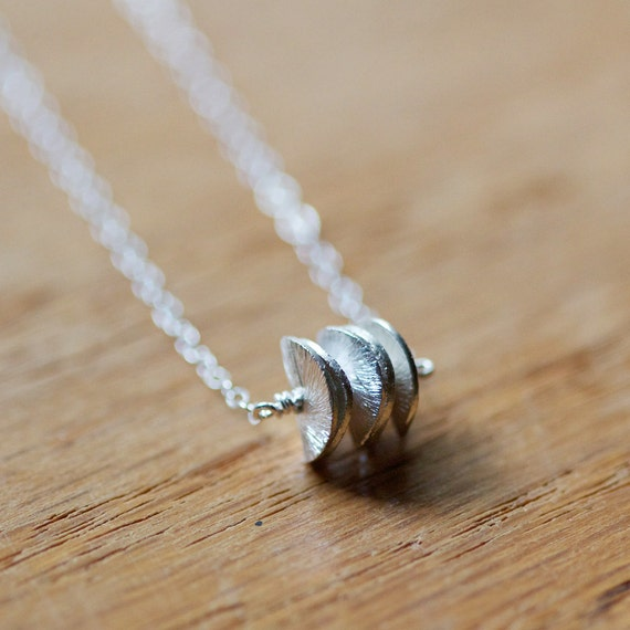 satellites - sterling silver textured necklace