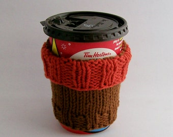 "Coffee Cup Cozy Cotton Knit Fabric Two Toned Burnt Orange Clove fits ""Short"" or ""Grande"" Coffee Eco-Friendly"
