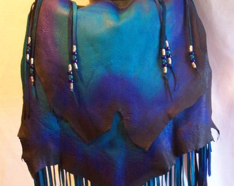"Ready to Ship!! Leather Purse ""MIDNIGHT BLUE"" Fringed Handbag Turquoise Cobalt Artisan Hippie Retro Beaded Bag Handmade by Debbie Leather"