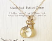 MUSTARD Seed Charm and Cross on A Gold Cable Chain, Gold Cross Necklace, Vintage Style Charm - Faith and Change - Mustard seed Pendant