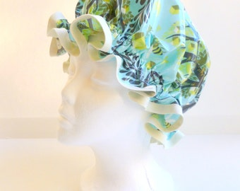 Vintage Shower Caps Aqua Trees of LIfe Adult Size  - Wipeable and Washable, BPA FREE