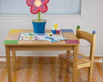 "Splat Mat/Tablecloth ""Cheetah Peach"" - Laminated Cotton BPA  & PVC Free - Choose Your Size below!"