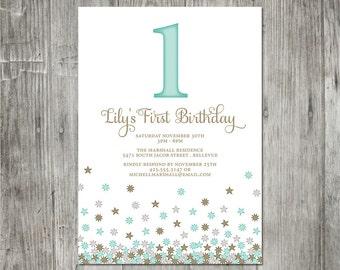 Falling Stars Birthday Invitation