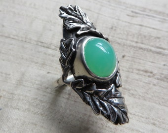 SALE The Oak Leaf Ring- Chrysoprase and Sterling