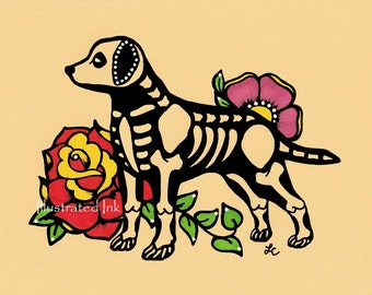Dia de los Muertos Dog LABRADOR Day of the Dead Art Print 5 x 7, 8 x 10 or 11 x 14 - Choose your own words - Donation to Austin Pets Alive