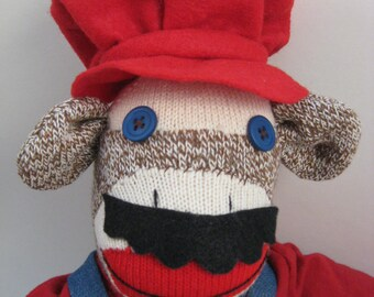 Mario Mario sock monkey MADE TO ORDER