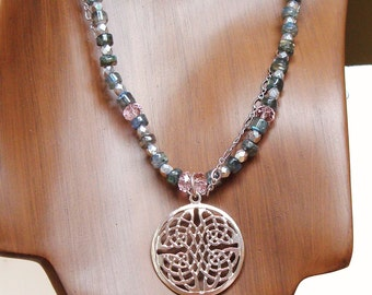 celtic medallion necklace with labradorite and shiny rhodium silver chain