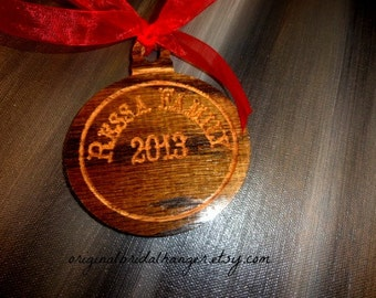 Family Christmas Ornament Handmade Red Oak Wood Wedding Ornament Holiday Gift Christmas Tree Ornament Wedding Gift