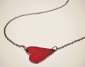 valentines gift sideways HEART NECKLACE red heart necklace heart jewelry gift for wife gift for girlfriend I love you necklace tiny heart