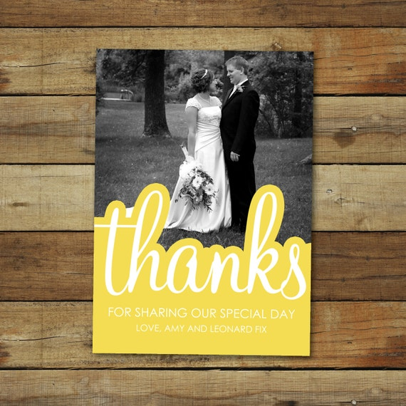 photo wedding thank you card in any color, custom colors to match wedding photos, printable thank you card with photo