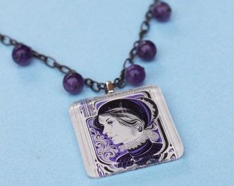 Beaded Vintage Stamp Necklace - Art Nouveau