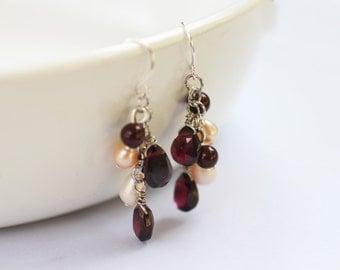 Garnet and Pearl Earrings