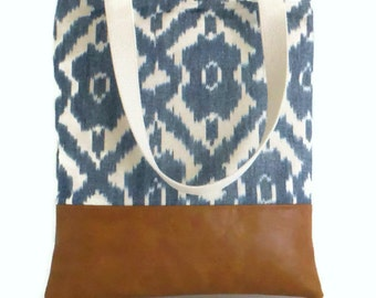 SALE - Handwoven IKAT Tote - Market Bag - Shopper - Vegan