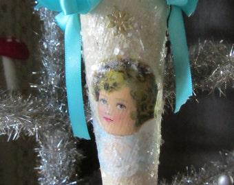 Beautiful Paper Mache Cornucopia with Antique Die Cut Angel and Vintage Trims