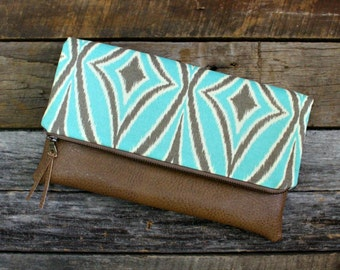 Turquoise and Ivory ikat fabric Fold over Clutch / Kindle Case