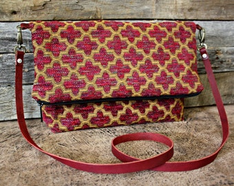 Burgundy upholstery / tapestry Fold-Over Bag / Vintage Fabric / Leather Strap